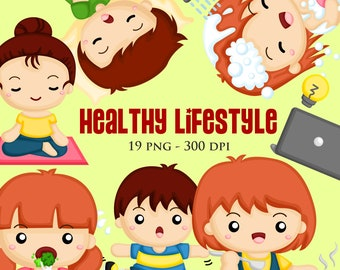 Healthy Lifestyle Clipart - Daily life Clip Art - Activity Clipart - Free SVG on Request