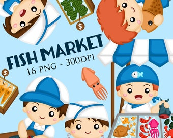 Fish Market Clipart - Traditional market Clip Art - Fish and sea creature - Free SVG on Request