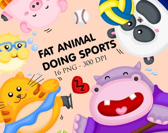 Cute Animal doing Sport Clipart - Fat Animal Clip Art - Sport -  Free SVG on Request