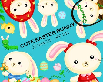 Cute Easter Bunny Clipart - Rabbit Clip Art - Easter Egg - Free SVG on Request