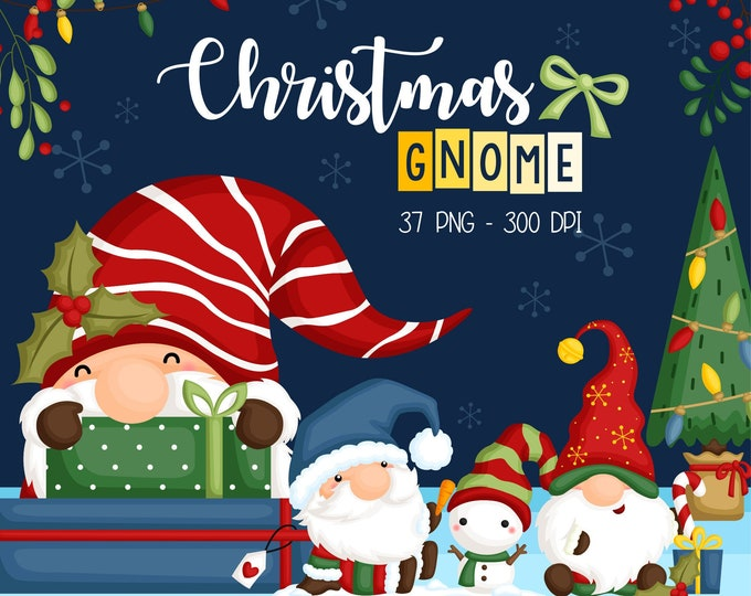 Featured listing image: Christmas Gnome Clipart - Cute Christmas Clipart - Holiday Clipart - Free SVG on Request