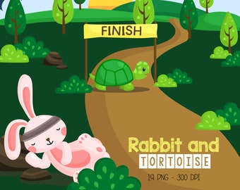 Rabbit and Tortoise Race Clipart - Cute Animal Clip Art - Fairytale Story - Free SVG on Request
