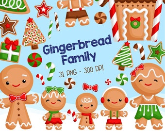 Gingerbread Family Clipart - Christmas Cookies in Winter Clip Art - Holiday Season - Free SVG on Request