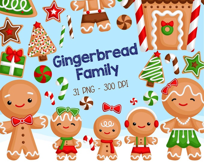 Featured listing image: Gingerbread Family Clipart - Christmas Cookies in Winter Clip Art - Holiday Season - Free SVG on Request