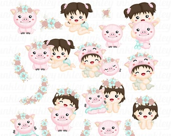 Baby Girl Clipart - Cute Pig Clip Art - Baby and Pig - Free SVG on Request