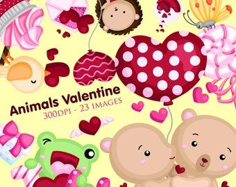 Animal and Valentine Clipart - Cute Animal in love Clip Art - Kimono - Free SVG on Request