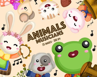Animals Musicians Clipart - Animal and Music Clipart - Cute Animal Clipart - Free SVG on Request