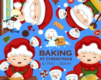 Mr Mrs Claus Clipart - Santa Claus Clip Art - Food and Dessert - Free SVG on Request
