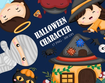 Cute Halloween Clipart -  Halloween character with house Clip Art - Halloween party - Free SVG on Request