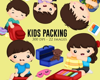 Kids Packing Clipart - Travel Clip Art - Free SVG on Request