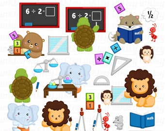 Animal Studying Clipart - Math Education Clip Art - Cute Animal - Free SVG on Request