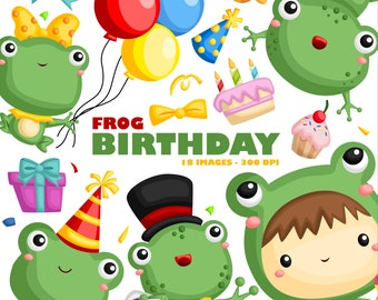 Birthday Frog Clipart - Birthday Party Clip Art - Cute Frog Animal -  Free SVG on Request