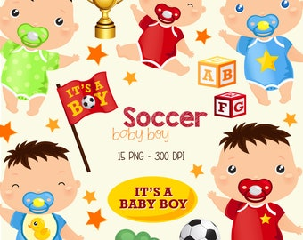 Baby Boy Clipart - Cute Kids Clip Art - Toys and Ball - Free SVG on Request