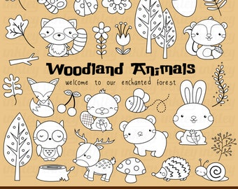 Woodland Animal Clipart - Cute Animal Clip Art - Black and White - Free SVG on Request