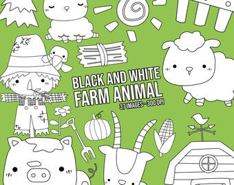 Farm Animal Clipart - Cute Animal Clipart - Black and White - Free SVG on Request