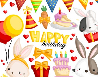 Birthday Rabbit Clipart - Cute Animal Clip Art - Birthday Party - Free SVG on Request