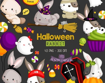 Halloween Rabbit Clipart - Cute Rabbit Clip Art - Holiday - Free SVG on Request