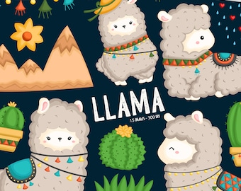 Cute Llama Clipart - Cute Animal Clip Art - Cactus and Animal - Free SVG on Request