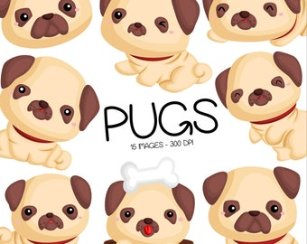 Cute Pugs Clipart - Dog Breed Clip Art - Cute Animal Clipart - Free SVG on Request