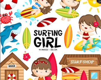 Surfer Girl Clipart - Water Sport Clip Art - Sea and Sunshin - Free SVG on Request