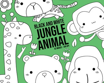 Cute Jungle Animal Clipart - Wild Animal Clip Art - Black and White - Free SVG on Request