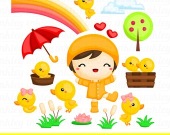 Girl and Duck Clipart - Cute Kid Clip Art - Cute Animal - Free SVG on Request