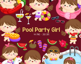 Pool Party Clipart - Cute Kids Clip Art - Summer Kids - Free SVG on Request