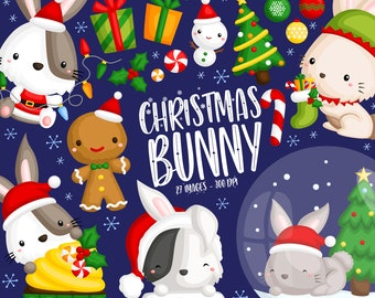Christmas Rabbit Clipart - Cute Animal Clip Art - Chirstmas Holiday - Free SVG on Request