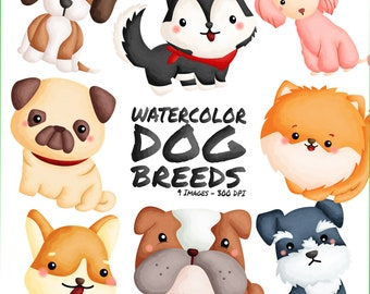 Watercolor Dog Breed Clipart - Cute Animal - Pet Clipart