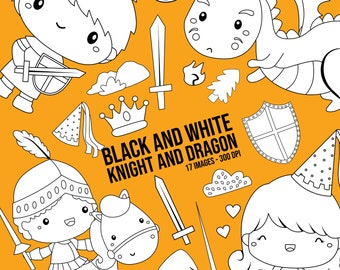 Knight and Dragon Clipart - Prince and Princess Clip Art - Black and White - Free SVG on Request