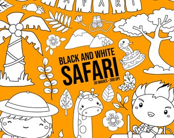 Safari Kids and Animal Clipart -  Jungle Animal Clip Art - Black and White -  Free SVG on Request