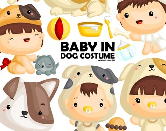 Baby in Dog Costume Clipart - Cute Dog Clip Art - Animal - Free SVG on Request