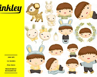 Baby Boy Nature Clipart - Nature Baby Clip Art - Forest Animal - Free SVG on Request