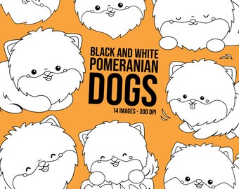 Cute Pomeranian Clipart - Dog Breed Clip Art - Black and White - Free SVG on Request