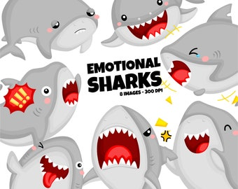 Emotional Sharks Clipart - Cute Shark Clip Art - Cute Animal Clipart - Free SVG on Request