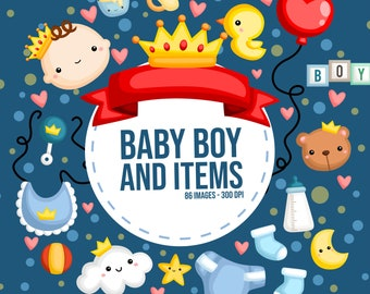 Cute Baby Boy Clipart - Baby Boy and Items - Toys Clipart - Free SVG on Request