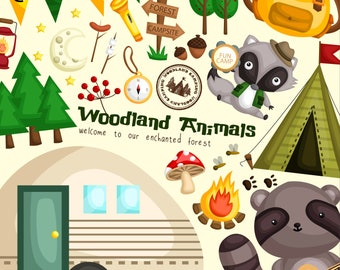 Animal and Camping Clipart - Cute Animal - Forest and Camping - Free SVG on Request