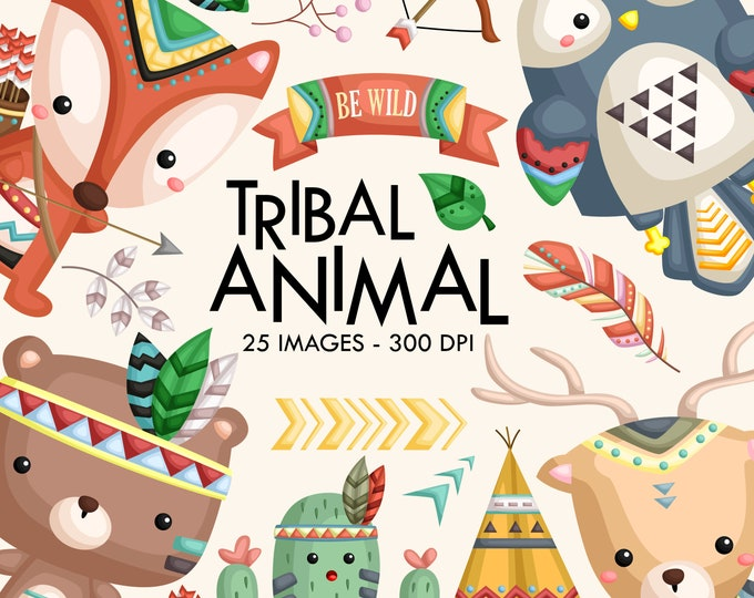Featured listing image: Tribal Animal Clipart - Cute Animal Clipart - Native Tribe Animal - Free SVG on Request