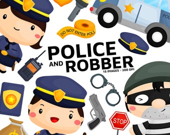 Police and Robber Clipart - Job and Occupation Clip art - Police Equipment -  Free SVG on Request