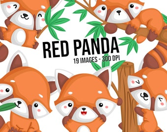 Red Panda Clipart - Cute Animal Clip Art - Cute Mammal -  Free SVG on Request