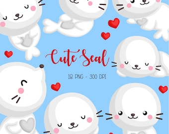 Cute Seal Clipart - Cute Arctic Animal Clip Art - Cute Animal - Free SVG on Request