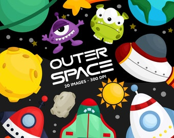 Galaxy and Space Clipart - Space and Exploration Clip Art - Outer Space - Free SVG on Request