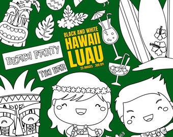 Hawaii Luau Culture and Tradition Clipart - Coconut Tree Clip Art - Black and White - Free SVG on Request