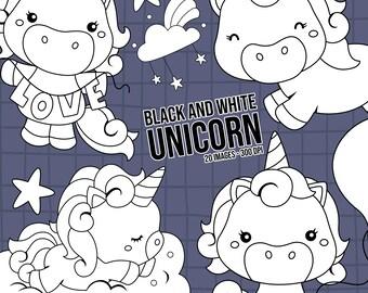 Cute Unicorn Clipart - Rainbow Unicorn Clipart - Black and White - Free SVG on Request