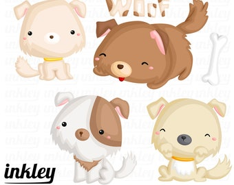 Dog and Puppie Clipart - Cute Animal Clip Art - Home Pet - Free SVG on Request