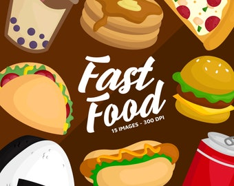Fast Food Clipart - Junk Food Restaurant Clip Art - Food and Drink - Free SVG on Request
