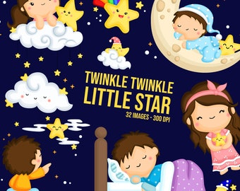 Twinkle Twinkle Little Star Clipart - Cute Story Clip Art - Nursery Rhymes - Free SVG on Request