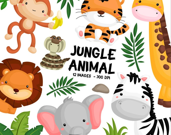Featured listing image: Jungle Animal Clipart - Cute Animal - Safari Clipart - Free SVG on Request