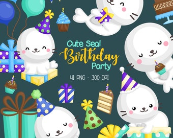 Cute Birthday Seal Clipart - Seal and Present Clip Art - Birthday Celebration - Free SVG on Request