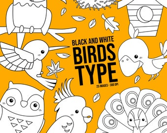 Bird Type Clipart - Cute Animal Clip Art - Black and White - Free SVG on Request